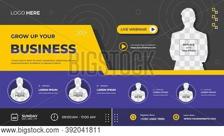 Purple And Black Geometric Background, Suitable For Web Banner, Business Webinar, Seminar, Online Co