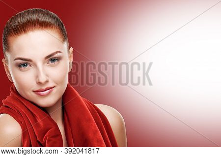 Beautiful Sensual Woman With Red Hair Posing With Shawl Arround Neck