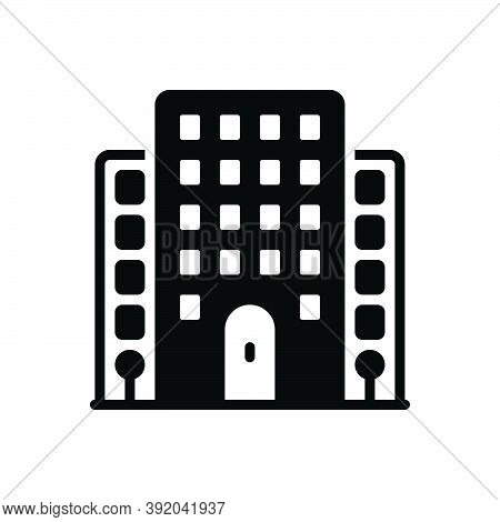 Black Solid Icon For Flat House Premises Dwelling Apartment Residence Home Building Architecture Mor