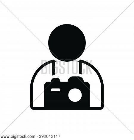 Black Solid Icon For Photographer Camera People Profession Cameraman Journalist Flash Paparazzi