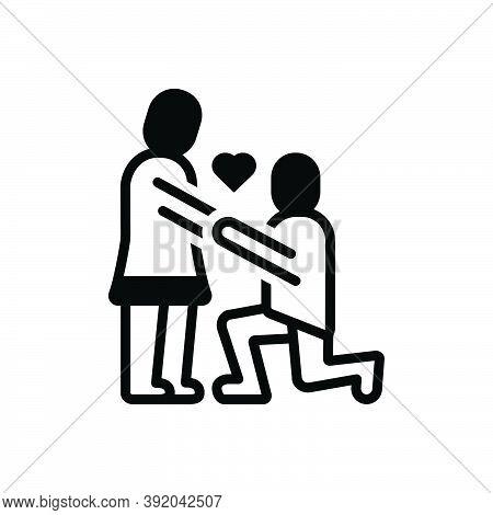 Black Solid Icon For Couple Valentines Day Propose Heart Put-forward Kneel Love Lover Celebration Da
