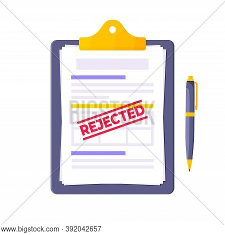 Rejected Credit Or Loan Form With Clipboard And Claim Form On It, Paper Sheets Isolated On White Bac