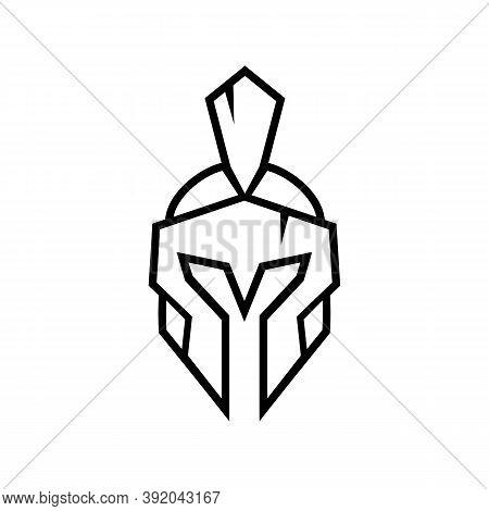 Spartan Warrior Logo Design Template Elements, Gladiator Or Trojan Knight Helmet Symbol, Line Art St