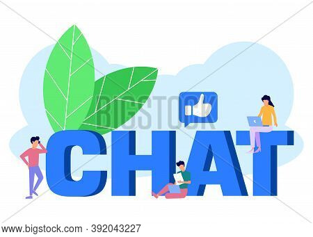 Vector Illustration Of The Concept Of Virtual Communication, Through Media, Social Networks, Kirim M