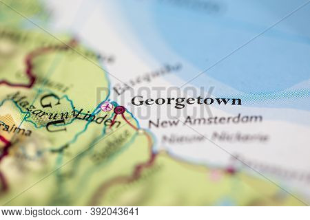Shallow Depth Of Field Focus On Geographical Map Location Of Georgetown City Guyana South America Co