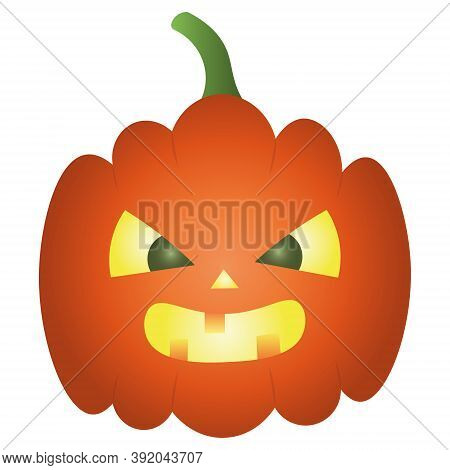 Pumpkin. Ominous grimace. Jack-lantern. Colored vector illustration. Halloween symbol. Isolated white background. Angry facial expression. Flat style. Glows from the inside. Idea for web design. Orange vegetable. All Saints Day.