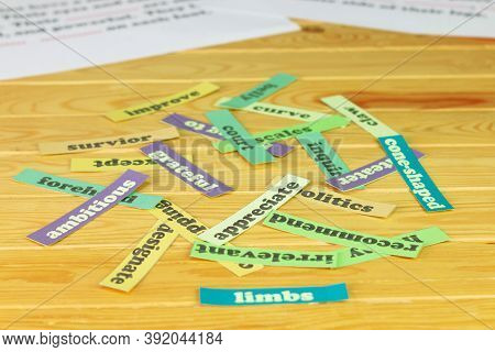 English Vocabulary Cards On Wooden Table For Studying