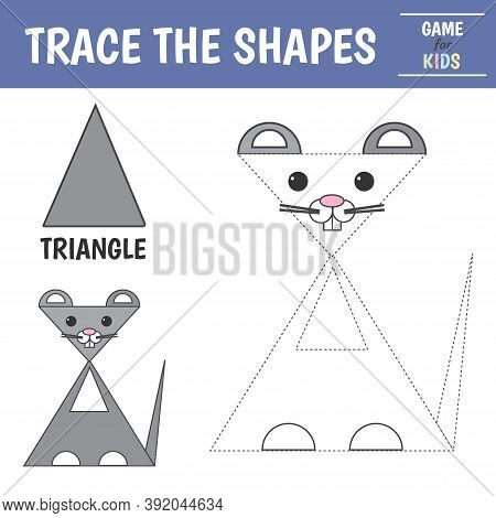 Learn Geometric Shapes - Triangle. Preschool Worksheet For Practicing Motor Skills. Mouse Of Geometr