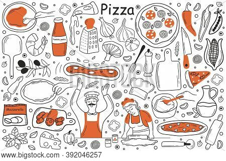 Pizza Doodle Set. Collection Of Hand Drawn Sketches Templates Patterns Of Man Cooker Chef Holding Pe