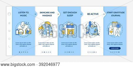 Self Care Practices Onboarding Vector Template. Listen To Favourite Music. Skincare And Massage. Res