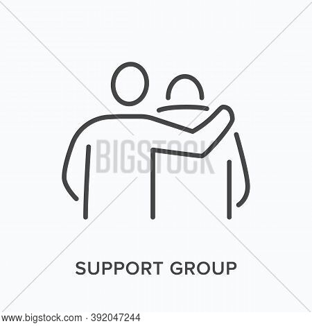 Support Group Flat Line Icon. Vector Outline Illustration Of Therapy, Friendship Hug. Man Supporting