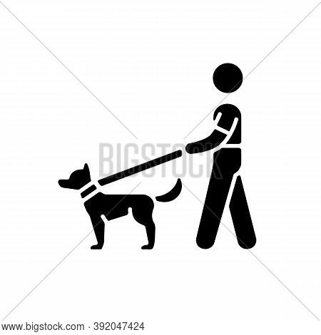 Dog Walker Black Glyph Icon. Taking Pets Out For Daily Exercise. Dog-walking. Animal Industry. Dog O