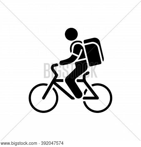 Food Delivery Person Black Glyph Icon. Meal And Groceries Delivery. Restaurant Takeout. Online Food