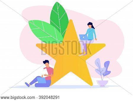 Vector Illustration, Young Man Up The Stairs Pressing The Star Menu, Customer Review Ratings, Differ