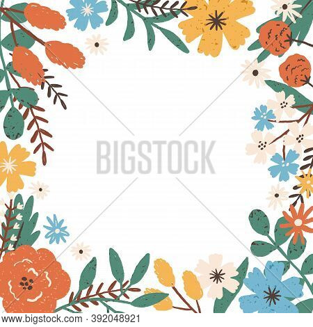 Colorful Frame Border With Different Blooming Meadow Flowers. Natural Background With A Place For Te