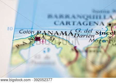 Shallow Depth Of Field Focus On Geographical Map Location Of Panama City Panama South America Contin