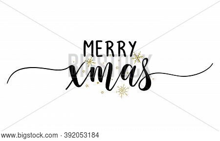 Merry Xmas (christmas) - Inspirational Christmas Beautiful Handwritten Quote, Gift Tag, Lettering Me