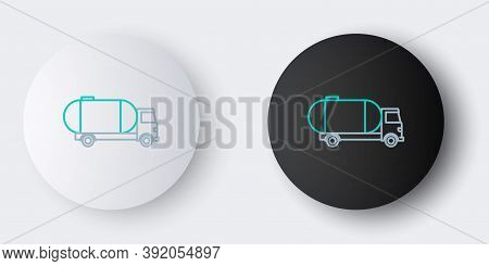 Line Tanker Truck Icon Isolated On Grey Background. Petroleum Tanker, Petrol Truck, Cistern, Oil Tra