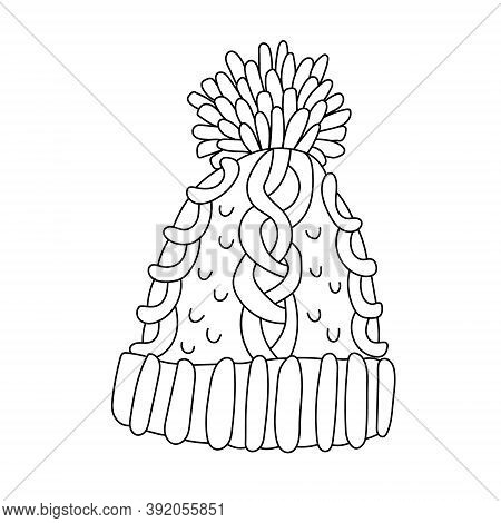 Nice Knitted Hat With A Big Pompom In Doodle Sketch Style. Isolated Black Outline. Hand Drawn Vector