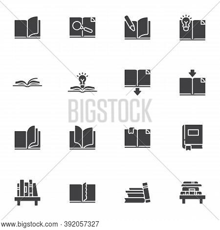 Book Vector Icons Set, Modern Solid Symbol Collection, Filled Style Pictogram Pack. Signs, Logo Illu