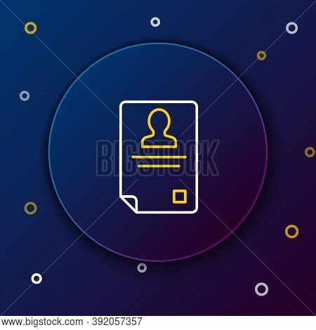 Line Identification Badge Icon Isolated On Blue Background. It Can Be Used For Presentation, Identit