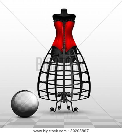 dummy and red corset