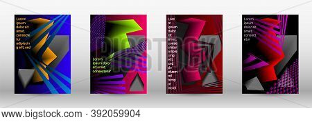 Modern Abstract Background. A Set Of Modern Abstract Covers. Trendy Cover Design Of Curved Lines, Ge