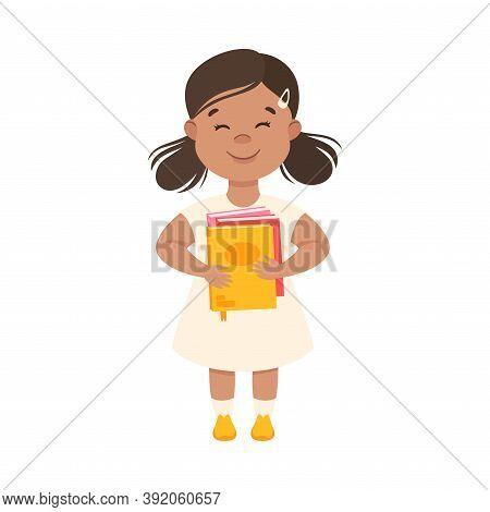 Cute Little Girl Standing With Book, Preschool Girl Loving Literature, Kids Education Concept Cartoo