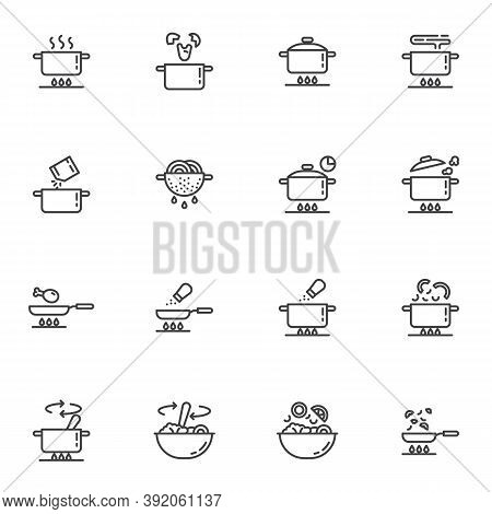 Cooking Instruction Line Icons Set, Food Preparation Outline Vector Symbol Collection, Linear Style