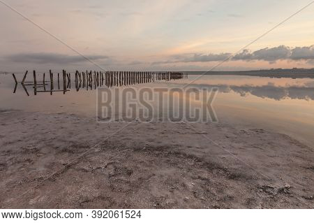 Waterscape In The Morning At The Coastal Salt Lake