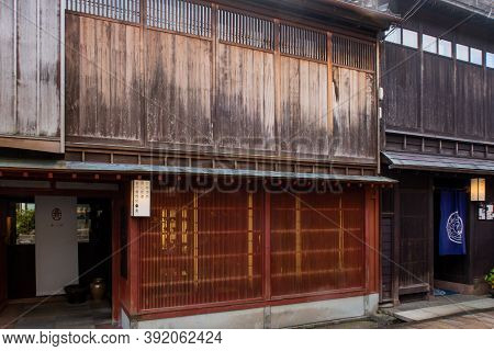Kanazawa, Japan, 09/11/19. Higashi Chaya Geisha District With Old Wooden Houses, Teahouses, Geisha P