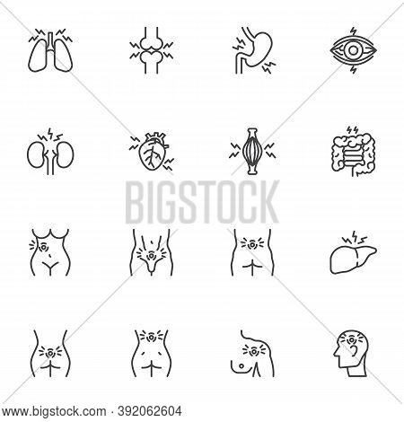 Human Body Pain Line Icons Set, Body Ache Outline Vector Symbol Collection, Linear Style Pictogram P
