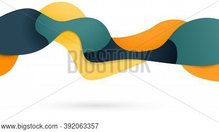 Flowing, Liquid Wavy Shape, Colorful Gradient Banner For Advertising. Vector Illustration
