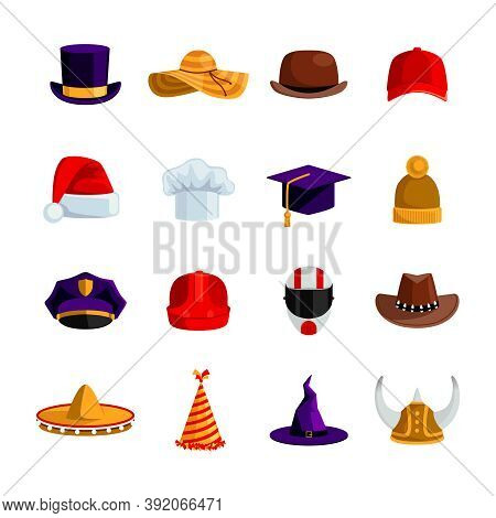 Hats And Caps Flat Color Icons Set Of Sombrero Bowler Square Academic Hat Baseball Cap Straw Hat San