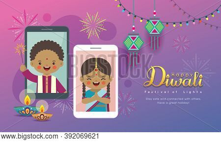 Diwali Or Deepavali Greeting Card. Cartoon Indian People Making Video Call With Friend Or Family Via