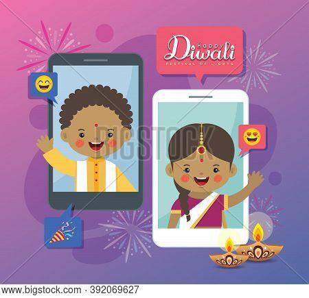 Cartoon Indian People Having Video Chat With Friends Or Family Via Smartphone. Online Diwali Or Deep