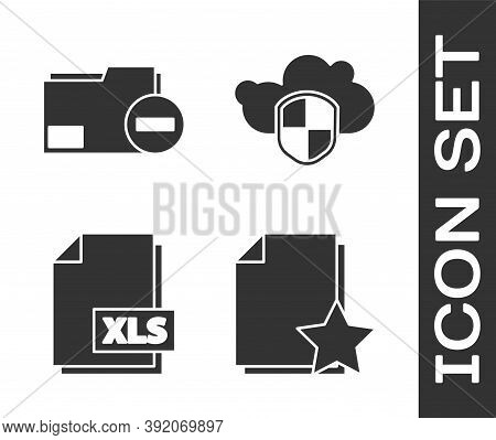 Set Document With Star, Document Folder With Minus, Xls File Document And Cloud And Shield Icon. Vec