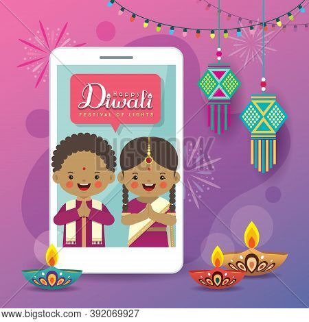 Cartoon Indian People Having Video Call With Friends Or Family Via Smartphone. Online Diwali Or Deep