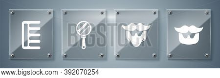 Set Mustache And Beard, Mustache And Beard, Hand Mirror And Hairbrush. Square Glass Panels. Vector