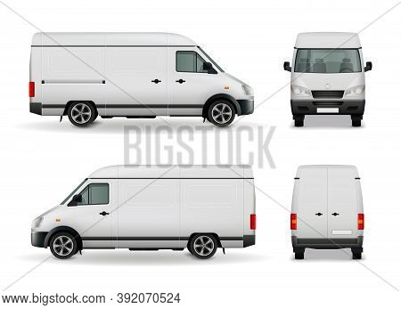 Realistic White Cargo Van With Empty Surface Advertising Mockup Side View, Front And Rear Vector Ill