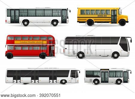 Realistic Set With School Bus Modern Urban And Touristic Transport London Double Decker Vehicle Isol