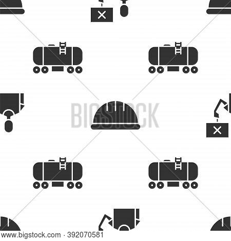 Set Nature Saving Protest, Worker Safety Helmet And Oil Railway Cistern On Seamless Pattern. Vector