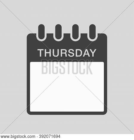 Vector Icon Calendar, Days Of The Week Thursday