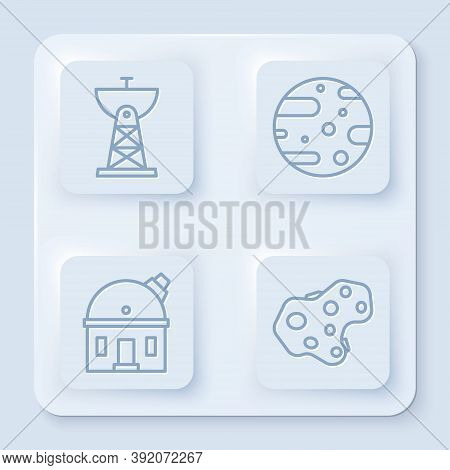Set Line Satellite Dish, Satellite Dish, Astronomical Observatory And Asteroid. White Square Button.