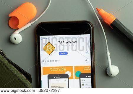New York, Usa - 26 October 2020: Tokapp School Mobile App Icon Logo On Phone Screen Close-up, Illust
