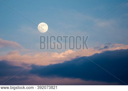 Full Moon With Clouds In Nighttime Moon In The Sky