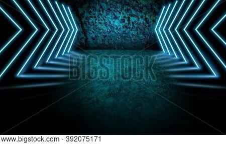 Blue, Navy. Neoned Lines Futuristic Aesthetics. Glowing Neon Futuristic Style On Smoked Dark Backgro