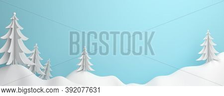 Winter Panorama Abstract Background, Pine, Spruce, Fir Tree Art Paper Cut Origami With Blue Pastel S