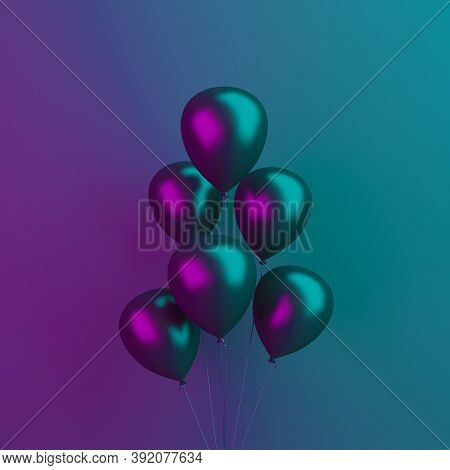 Black Friday Abstract Design Creative Concept, Balloons On Black Blue Purple Background, Vibrant Col