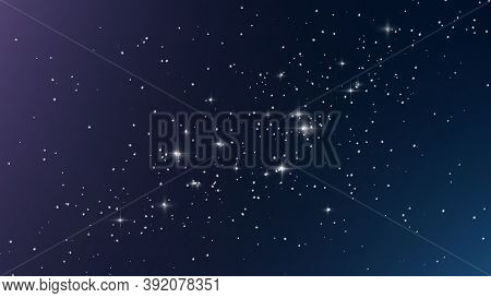 Night Starry Sky, Blue Shining Space With Starlight Sparkles Twinkling In Universe Space. Abstract D
